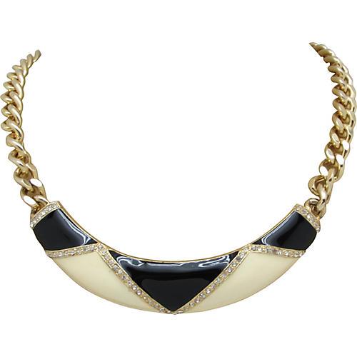 Black & Cream Enamel Necklace