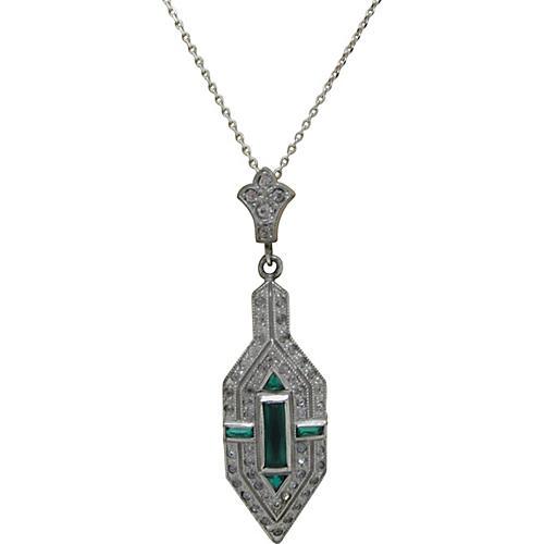 Art Deco Faux-Emerald & Diamond Necklace