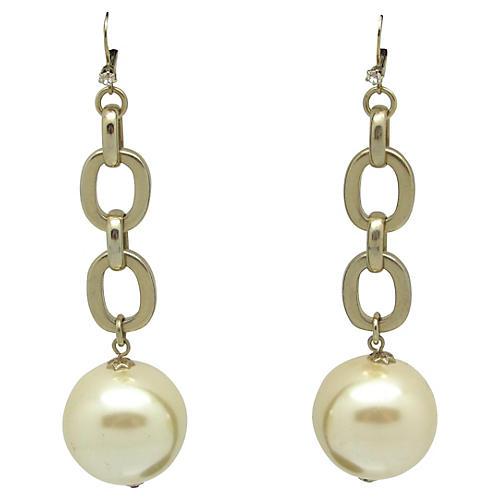 Runway Chain Link & Faux-Pearl Earrings
