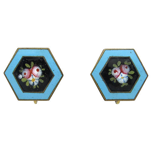 Art Nouveau Floral Enamel Earrings