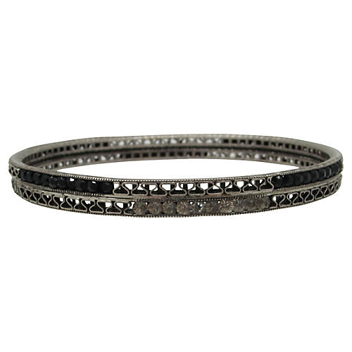 Art Deco Double-Stack Filigree Bangle
