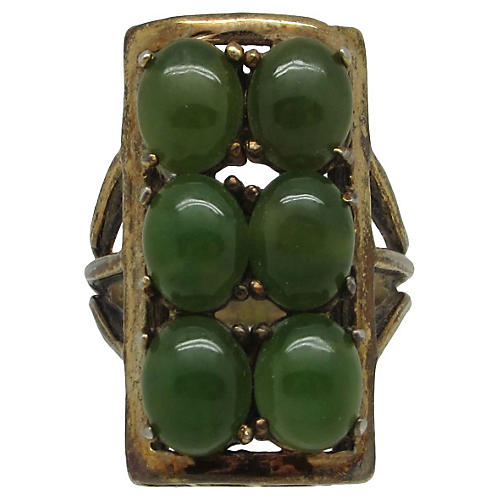 Modernist Sterling & Jade Ring