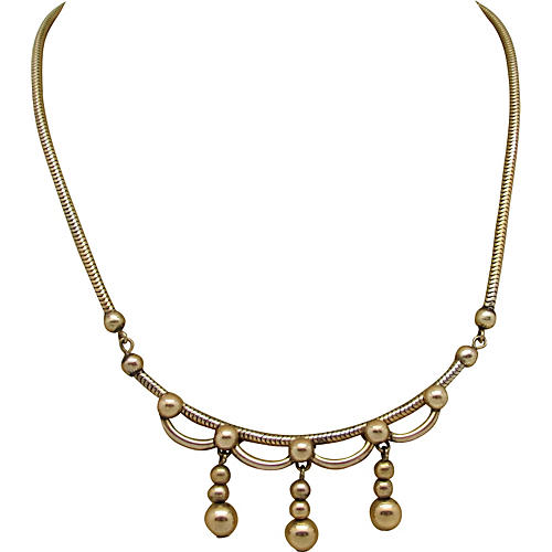 1940s Scroll Design Necklace w/ Beads