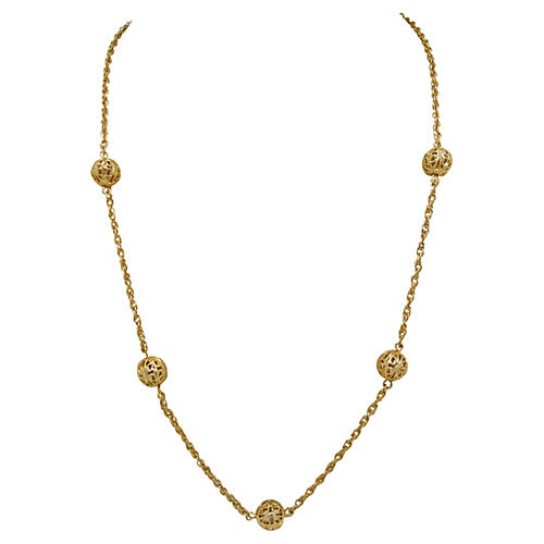 Goldtone Necklace w/ Filigree Beads