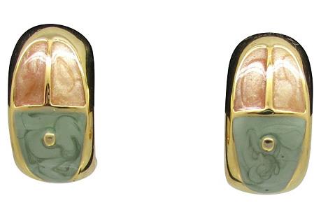 Frosted Enamel Hoop Earrings