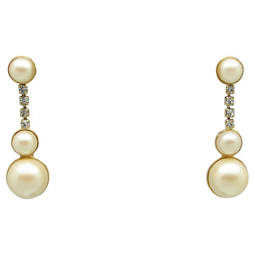 Graduated Faux-Pearl Dangle Earrings