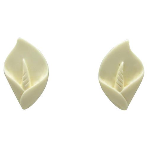 Faux-Ivory Lily Earrings