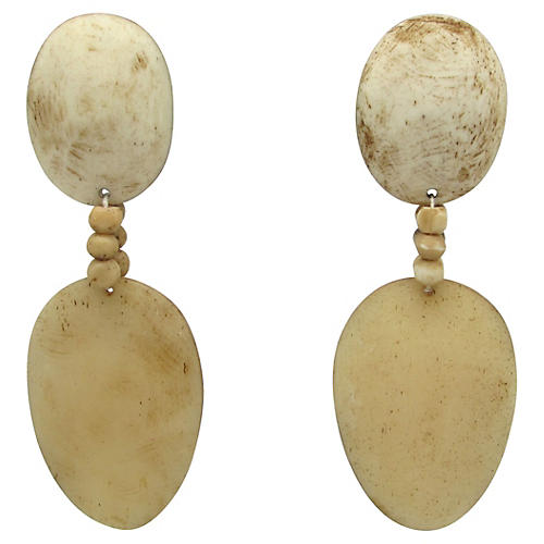 Faux-Bone & Wood Earrings