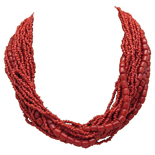 Faux-Coral Collar Necklace