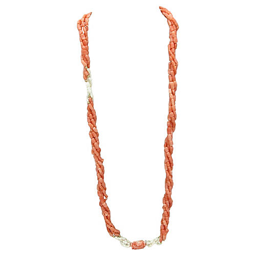 Multi-Strand Coral & Pearl Necklace