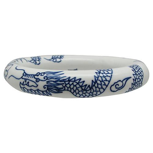 Dragon-Motif Porcelain Bangle