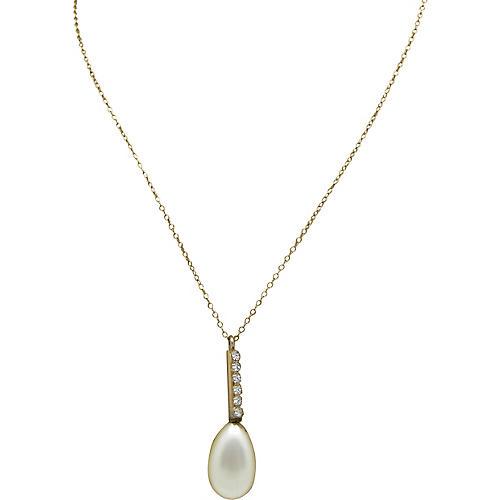Teardrop Faux-Pearl Necklace