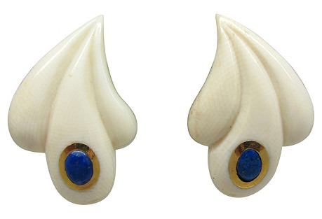 Bone & Lapis Earrings