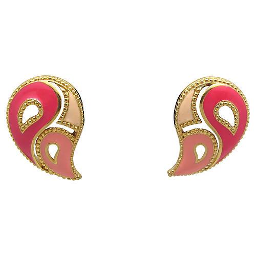 Pink Enamel Teardrop Earrings