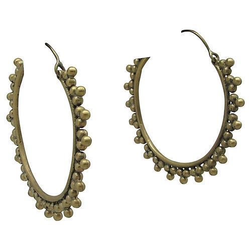 African-Style Brass Hoop Earrings