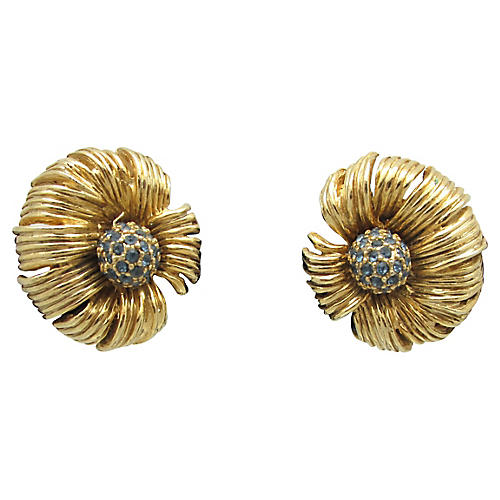 Articulated Goldtone Flower Earrings