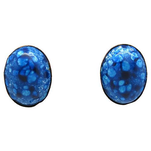 Renoir Matisse Blue Enamel Earrings