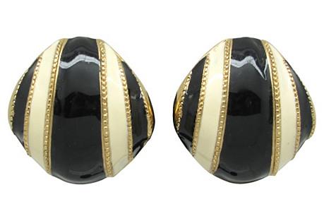 Black & Cream Enamel Earrings