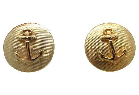 Goldtone Anchor Cuff Links