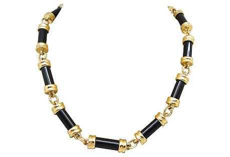 Goldtone & Black Tube Link Necklace