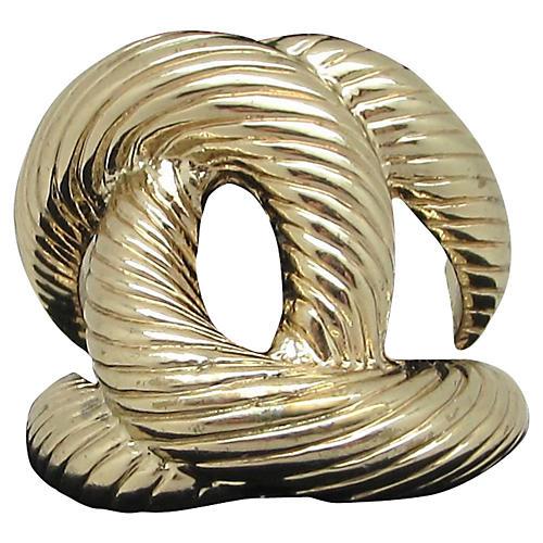 Interlocking Ribbed Goldtone Ring