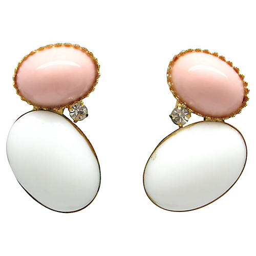 Pink & White Pebble Earrings
