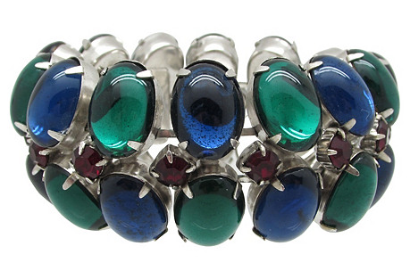 Blue & Green Glass Cabochon Bracelet