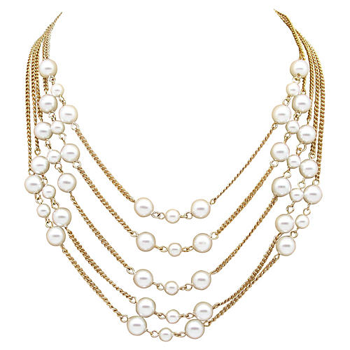 5 Strand Faux-Pearl Swag Necklace