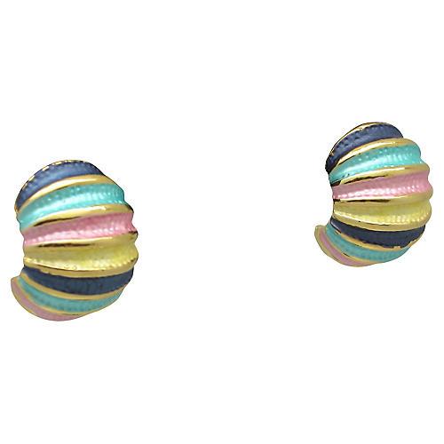 Colorful Enamel Demi-Hoop Earrings