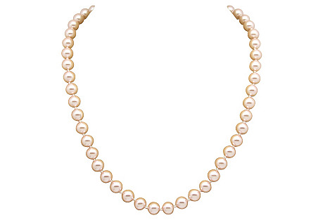 Hand-Knotted Pink Faux-Pearl Necklace