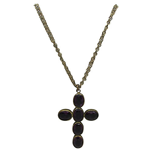 Victorian Amethyst Glass Cross Necklace