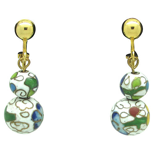 Double Cloisonné Bead Earrings