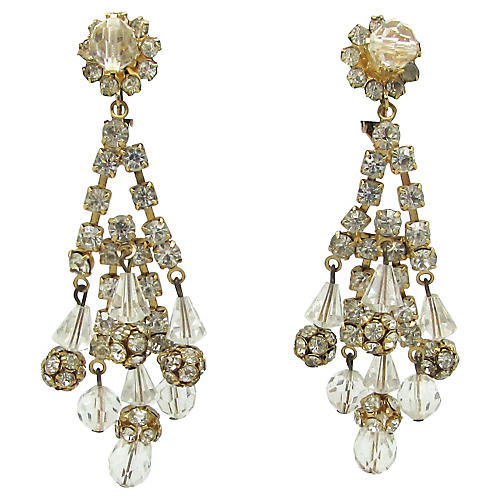Crystal & Rhinestone Chandelier Earrings