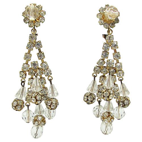 Crystal & Rhinestone Chandelier Earrings