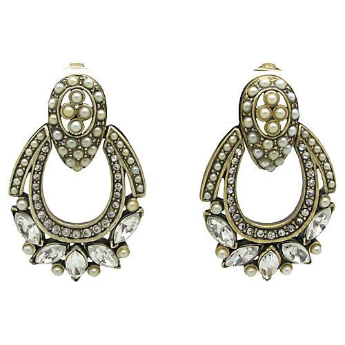 Hobé Faux-Pearl Pendulum Earrings