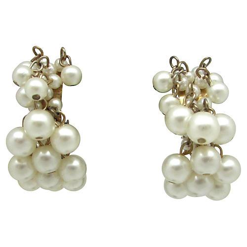 Demi Hoop Faux-Pearl Earrings