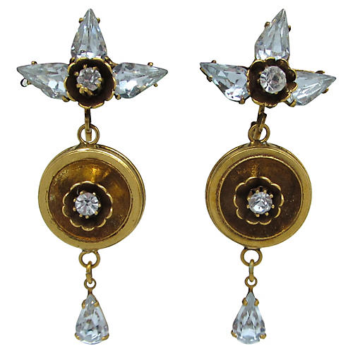 1950s Floral Pendulum Earrings