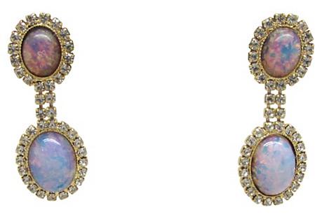 Faux-Opal Pendulum Earrings