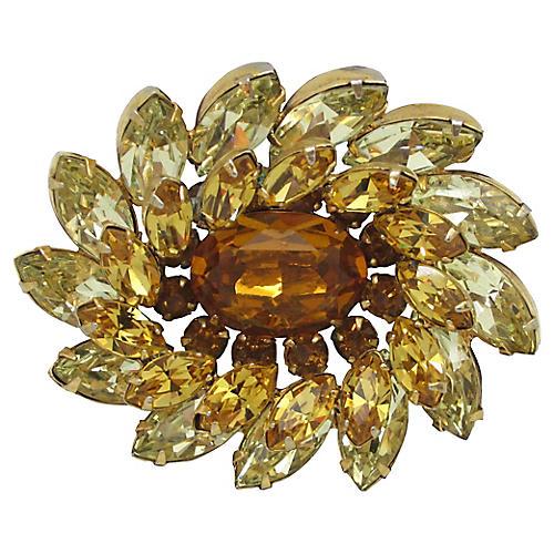 Kramer Gold & Citrine Glass Pin