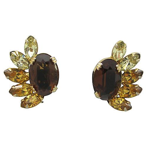 Kramer Topaz & Citrine Glass Earrings