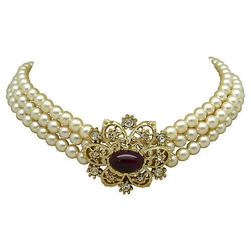 Regal Three-Strand Faux-Pearl Choker
