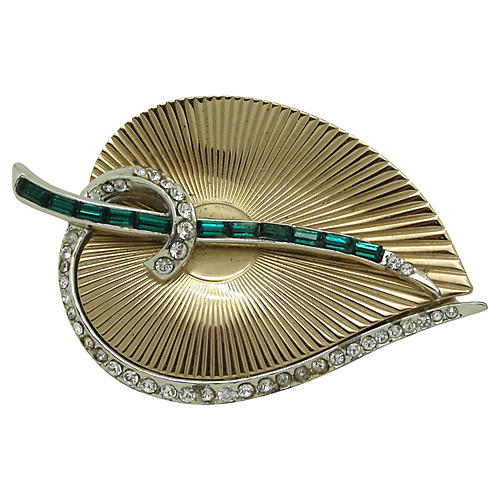 Stylized Adorned Ribbed Leaf Brooch