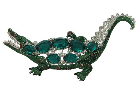 1930s Enameled Alligator Pin w/ Stones