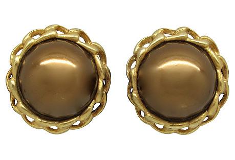 Carolee Faux-Pearl & Chain Link Earrings