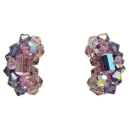 Pink & Lavender Crystal Bead Earrings