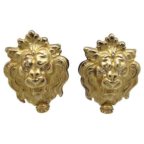 Lion's Head Earrings w/ Faux-Pearl
