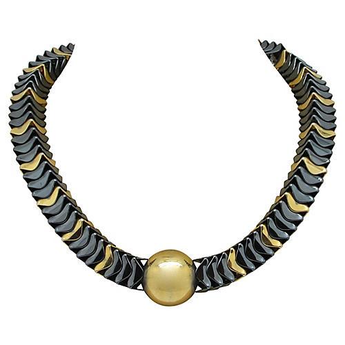 Two-Tone Metallic Bead Necklace