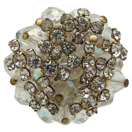 Crystal Bead & Rhinestone Cluster Ring