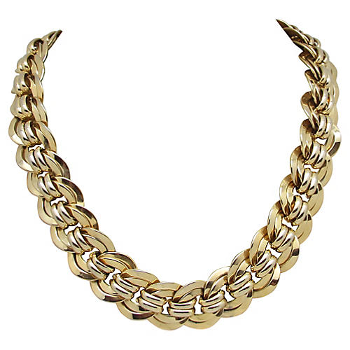 Goldtone Double Cable Link Necklace