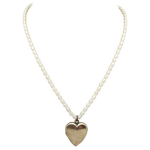 Pearl & Gold-Filled Heart Locket